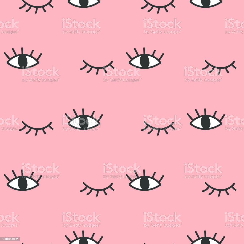 Hand drawn open and winking eyes doodles seamless pattern. vector art illustration