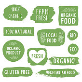 Hand drawn organic and natural labels