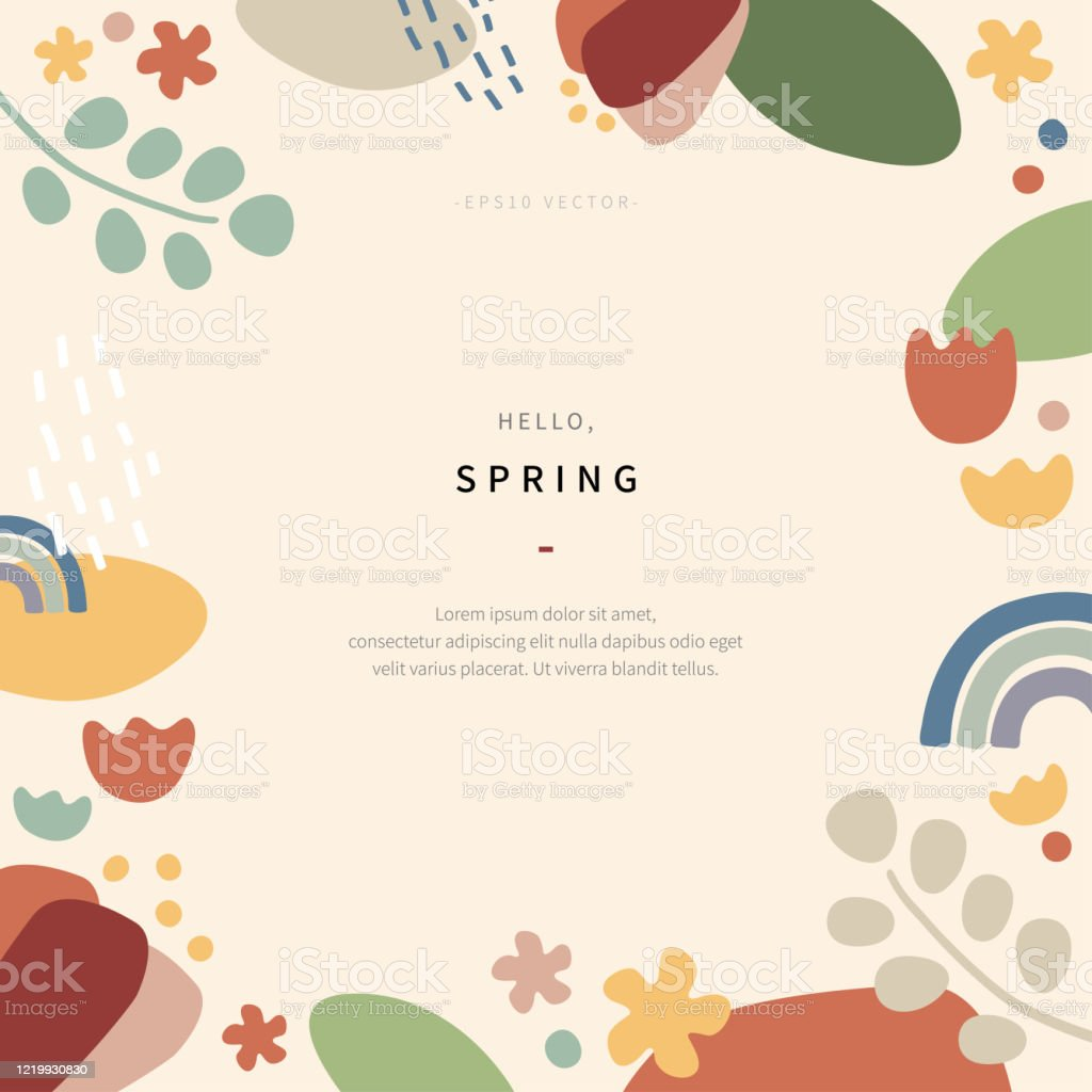 Hand Drawn Organic Cut Out Shapes Of Spring Concept Collage Inspired By Henri Matisse Style Stock Illustration Download Image Now Istock