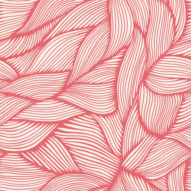 Hand Drawn Organic Intertwined Seamless Pattern Seamless. Colors easily changed. White parts are cut-out/transparent for use on any background. natural pattern stock illustrations
