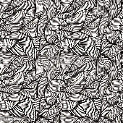 istock Hand Drawn Organic Intertwined Seamless Pattern 1260531306