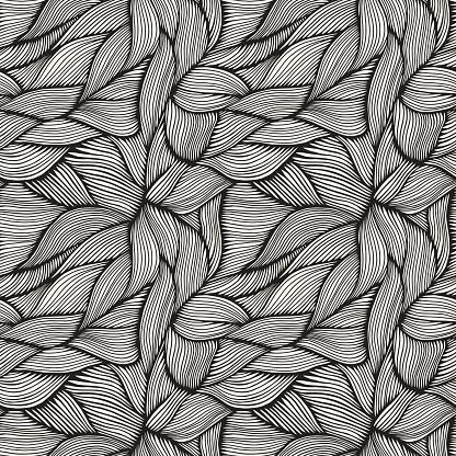 Hand Drawn Organic Intertwined Seamless Pattern