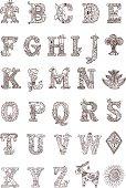 Hand drawn ornamental alphabet