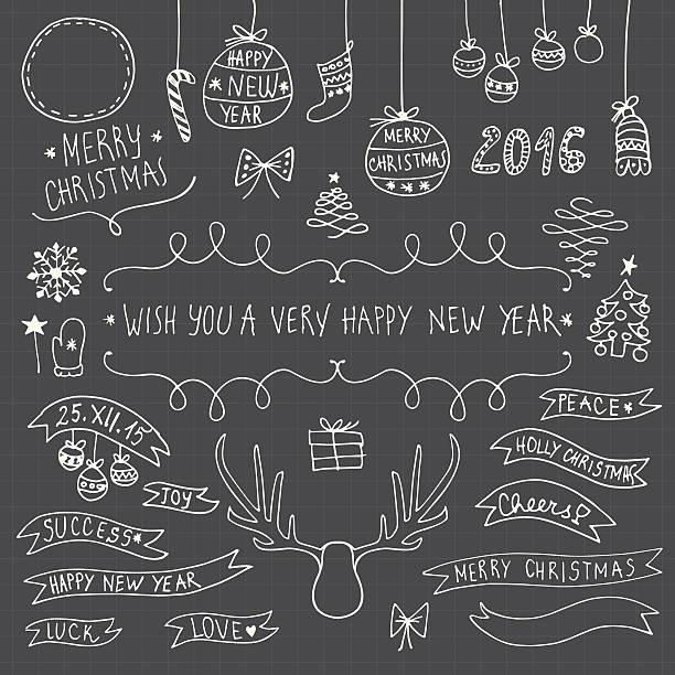 手描きの装飾クリスマスと新年の要素と sumbols - いたずら書き/手書きのフレーム点のイラスト素材/クリップアート素材/マンガ素材/アイコン素材