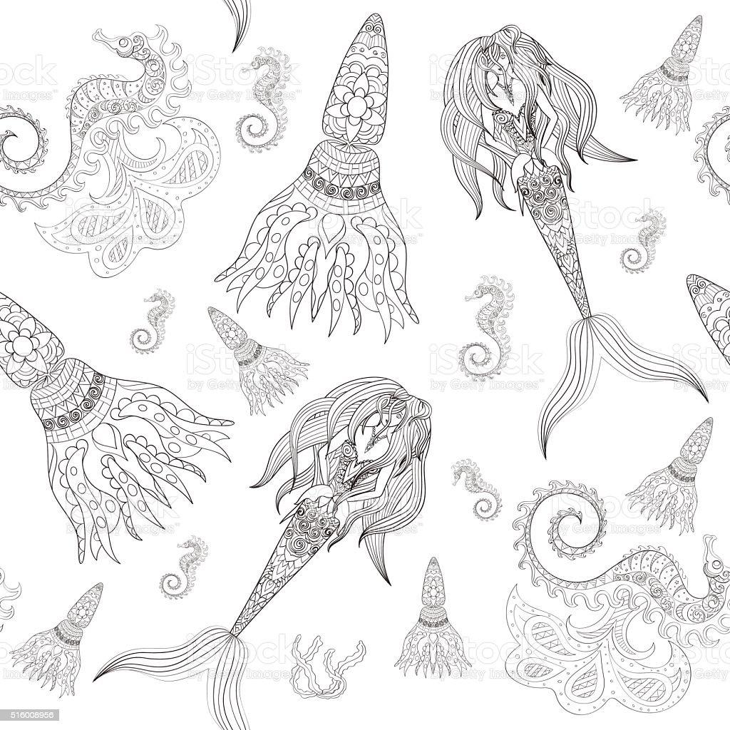 Disegno A Mano Ornamentale Sirena Marecavallo E Calmar Fata Da Fiaba
