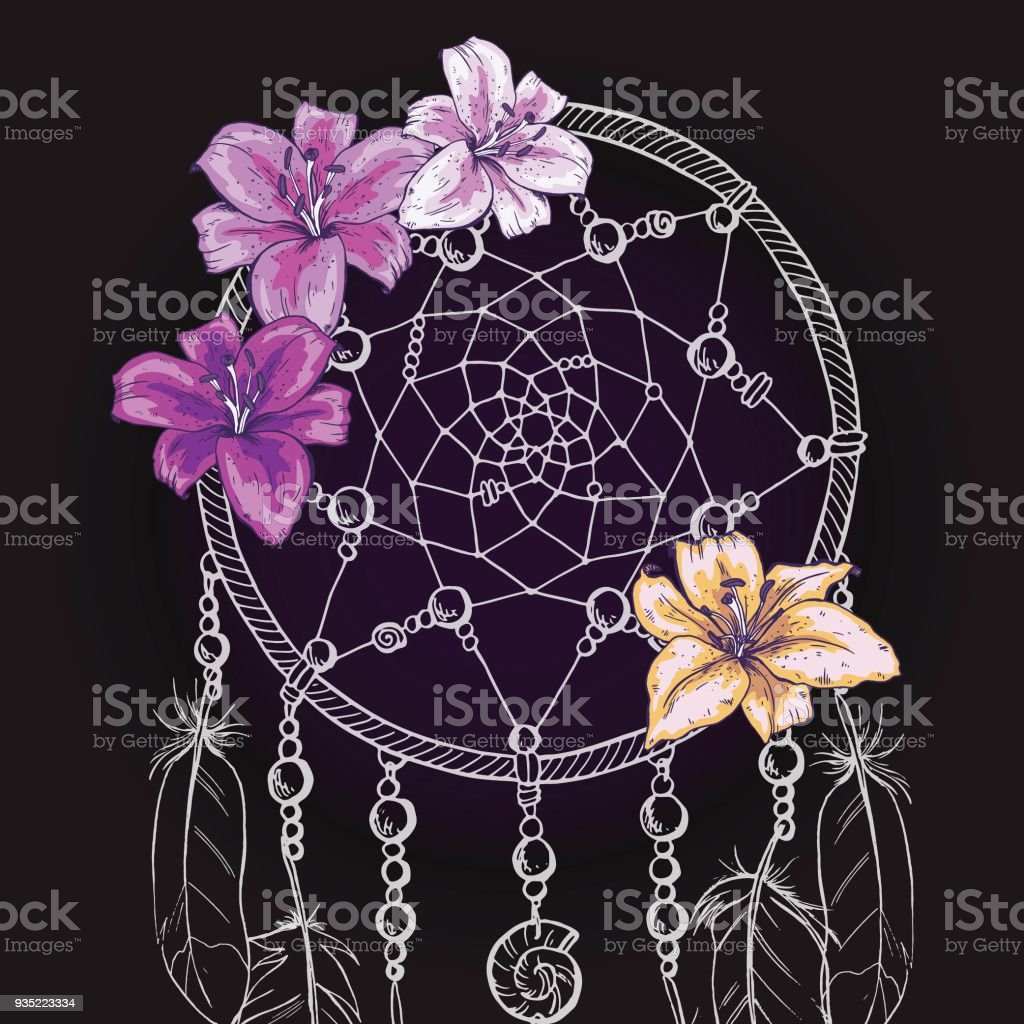 Hand drawn ornate dream catcher with beautiful lily flowers on a hand drawn ornate dream catcher with beautiful lily flowers on a black background vector illustration izmirmasajfo