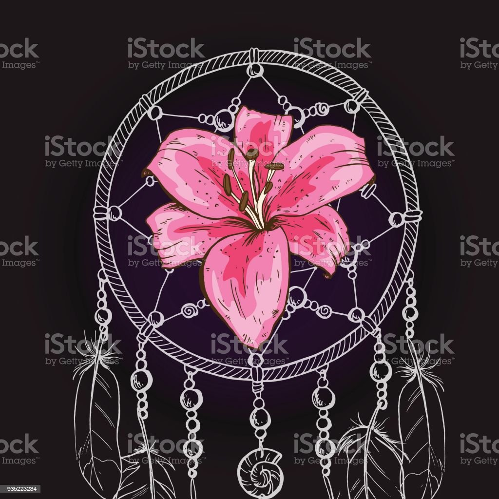 Hand Drawn Ornate Dream Catcher With Pink Lily Flower On A Black