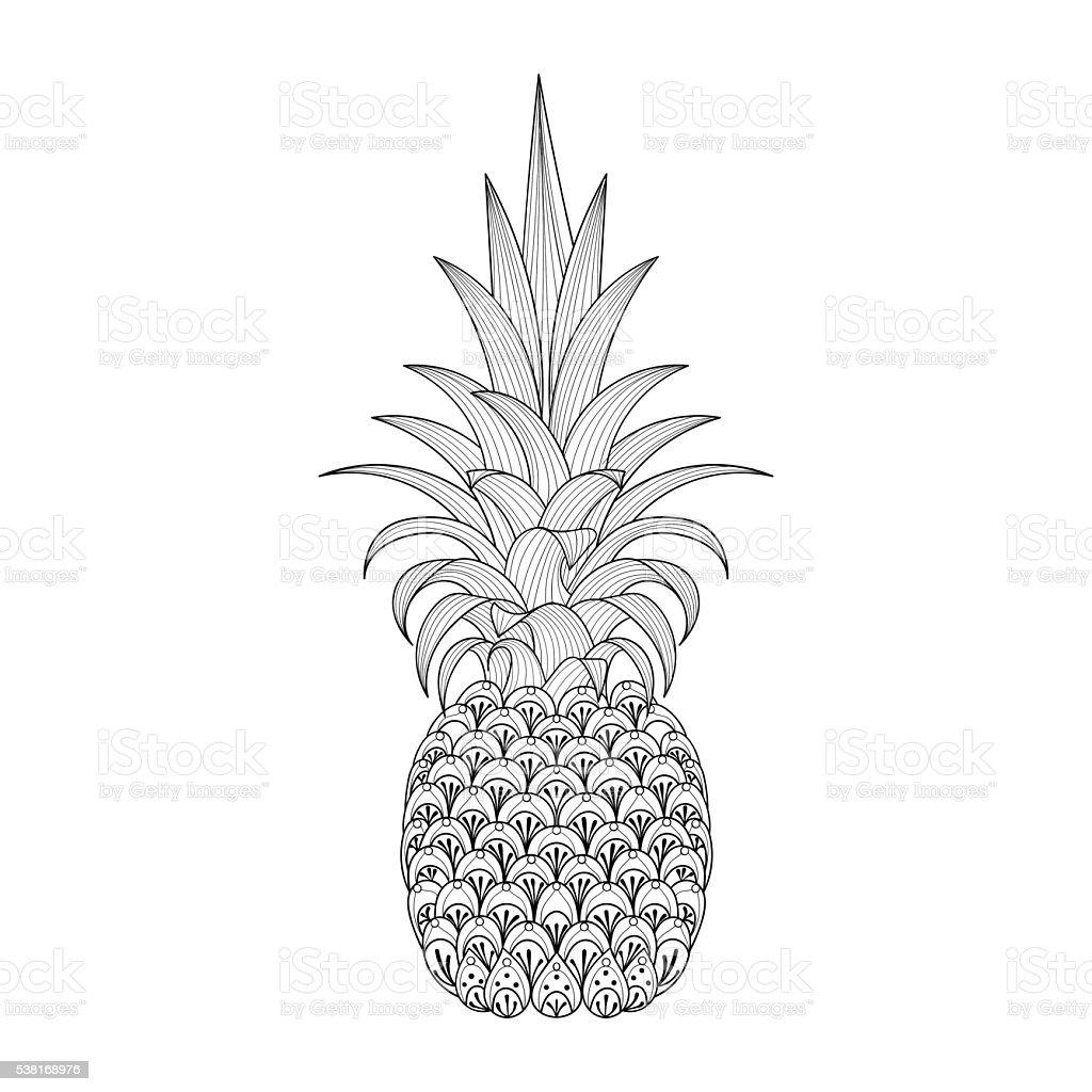 Handgezeichnet Verzierten Ananas Stock Vektor Art und mehr Bilder