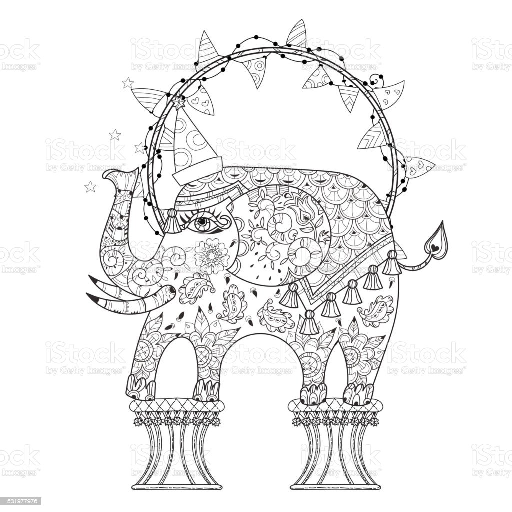 Hand Drawn Outline Circus Elephant Doodle Stock Vector Art & More ...