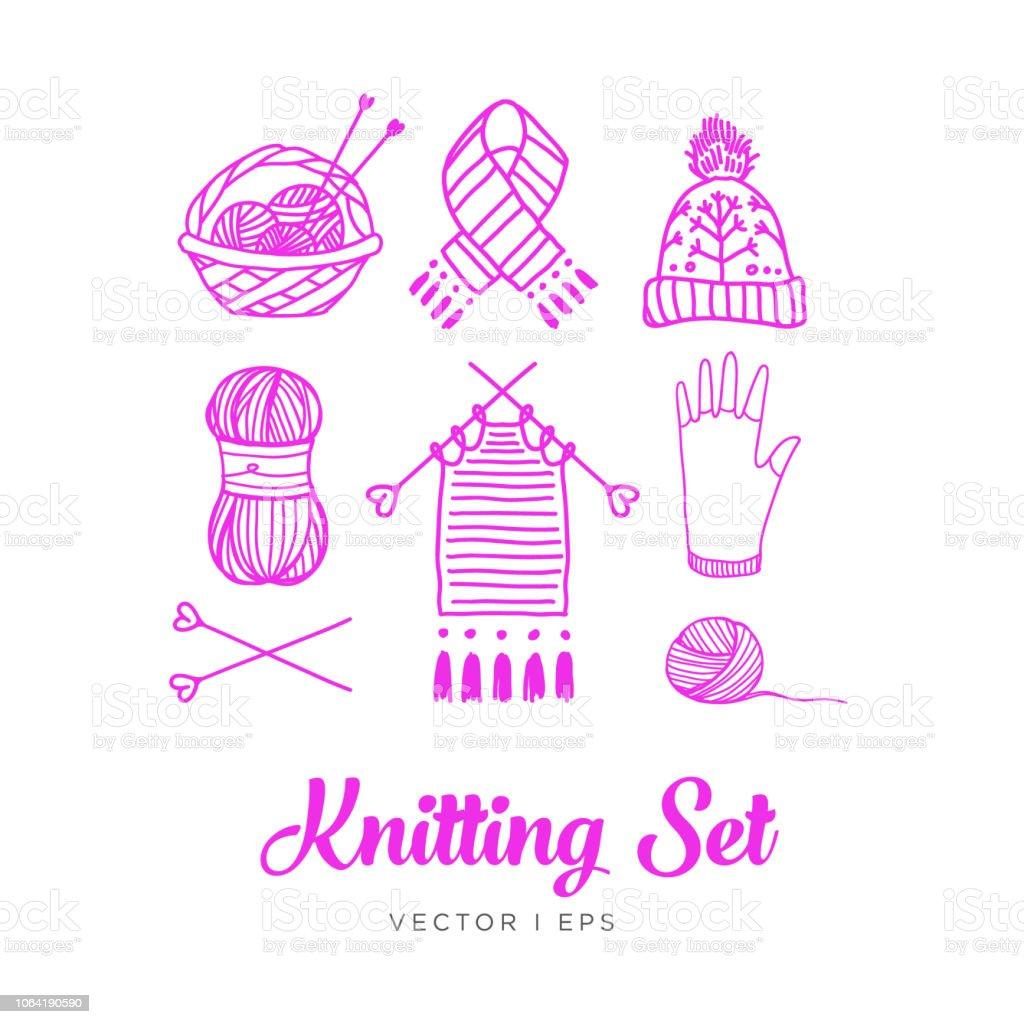 Hand drawn outline, knitting set. Clew, yarn, wool, knitting needles, thread, basket, knit work, hat, glove, scarf, mitten. vector art illustration