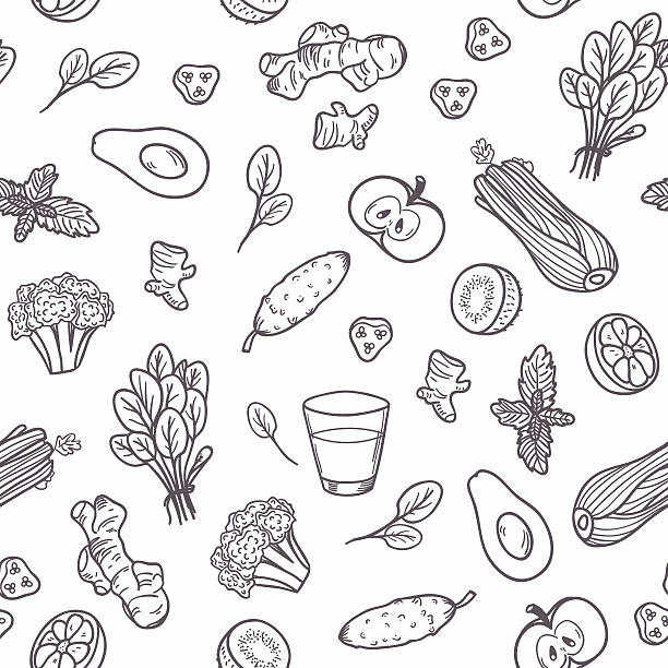 Hand drawn outline vegetables seamless pattern. Healthy eating background Hand drawn outline vegetables seamless pattern. Vector illustration. Healthy eating background in black and white avocado patterns stock illustrations