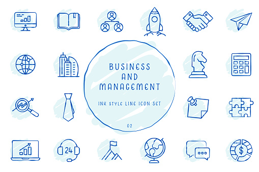 Hand Drawn Outlined Inked Sketchy Business and Management Icon Collection