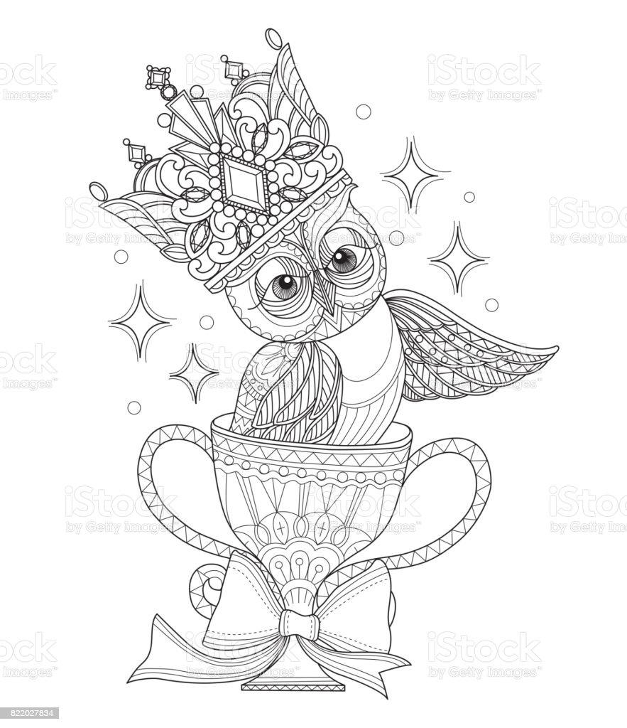 Hand dras Owl och krona i trophy för vuxen målarbok. vektorkonstillustration