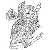 Hand drawn Owl and wand for adult coloring page.