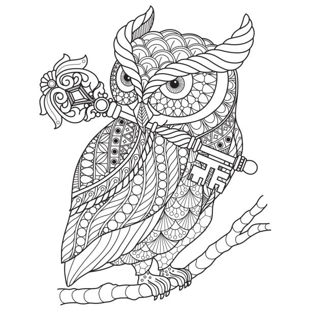 hand drawn owl and wand for adult coloring page. - black and white owl stock illustrations, clip art, cartoons, & icons