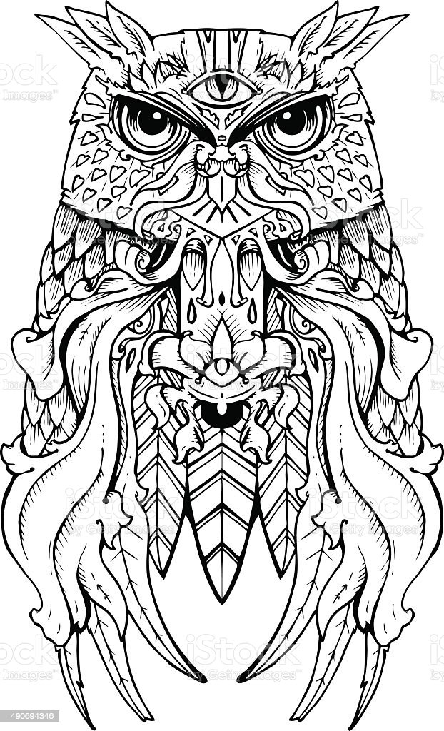 Hand Drawn Owl Tattoo Design Stock Vector Art More Images Of 2015