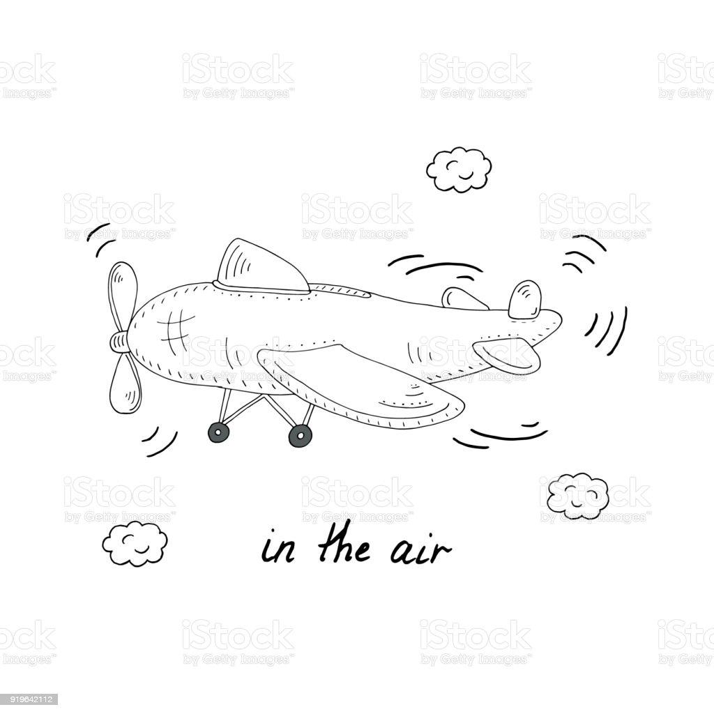 Elle çizilmiş Sayfa Kitap Helikopter Karikatür Vektör çizim Ile