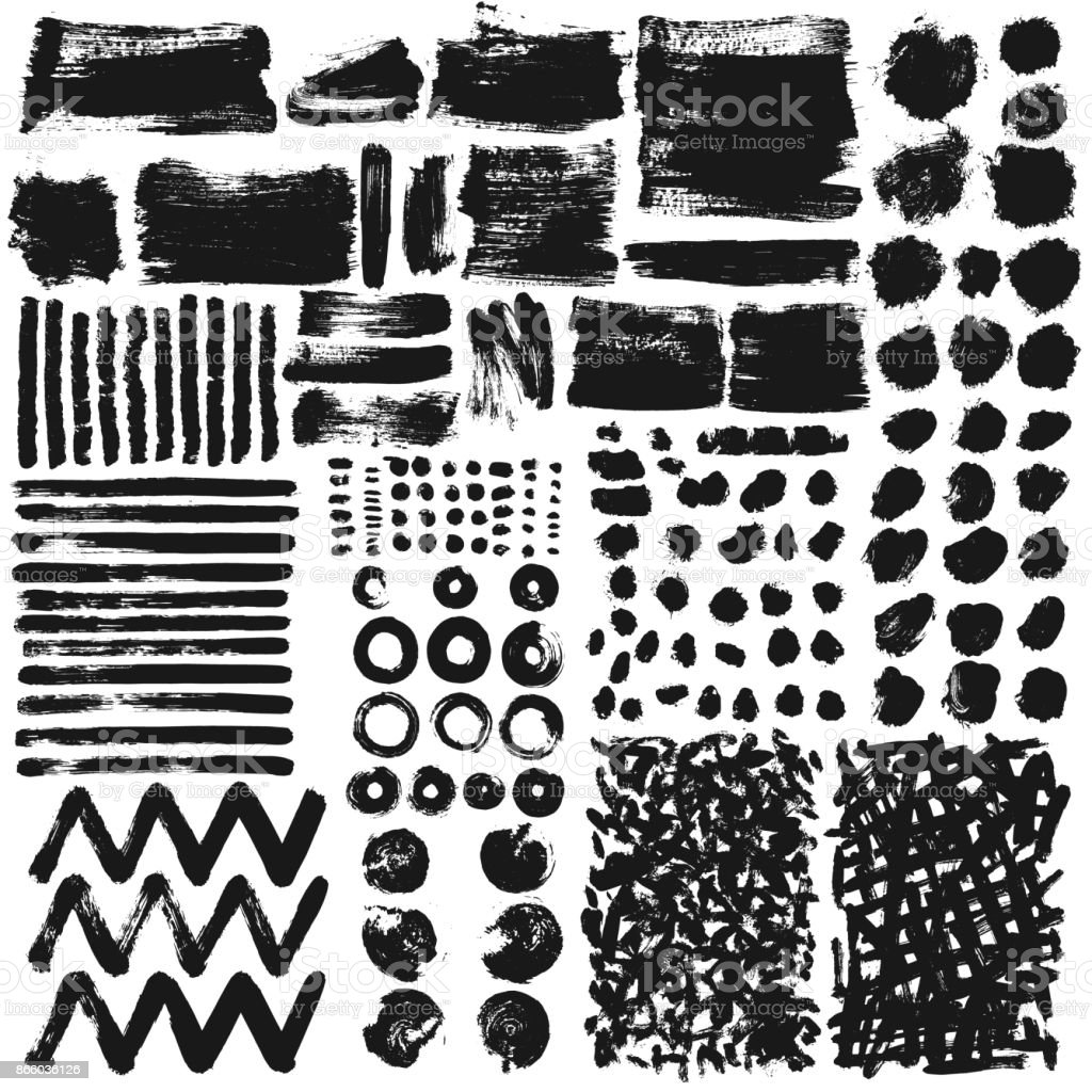 Hand drawn paint brush art grunge texture of ink black round blobs, stains, drops, strokes, lines isolated vector elements set vector art illustration