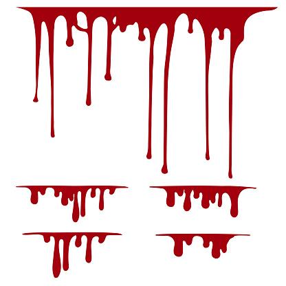 Hand drawn paint splatter, liquid melt. Horror leak. Blood drops. Vector isolated illustration.