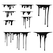 Hand drawn paint splatter, melt. Liquid leak. Ink drops. Vector isolated illustration.