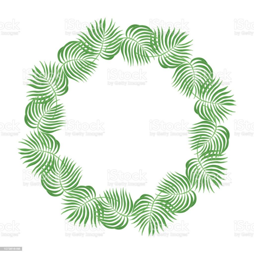 Hand Drawn Palm Leaves Frame Tropical Leaf Invitation Card