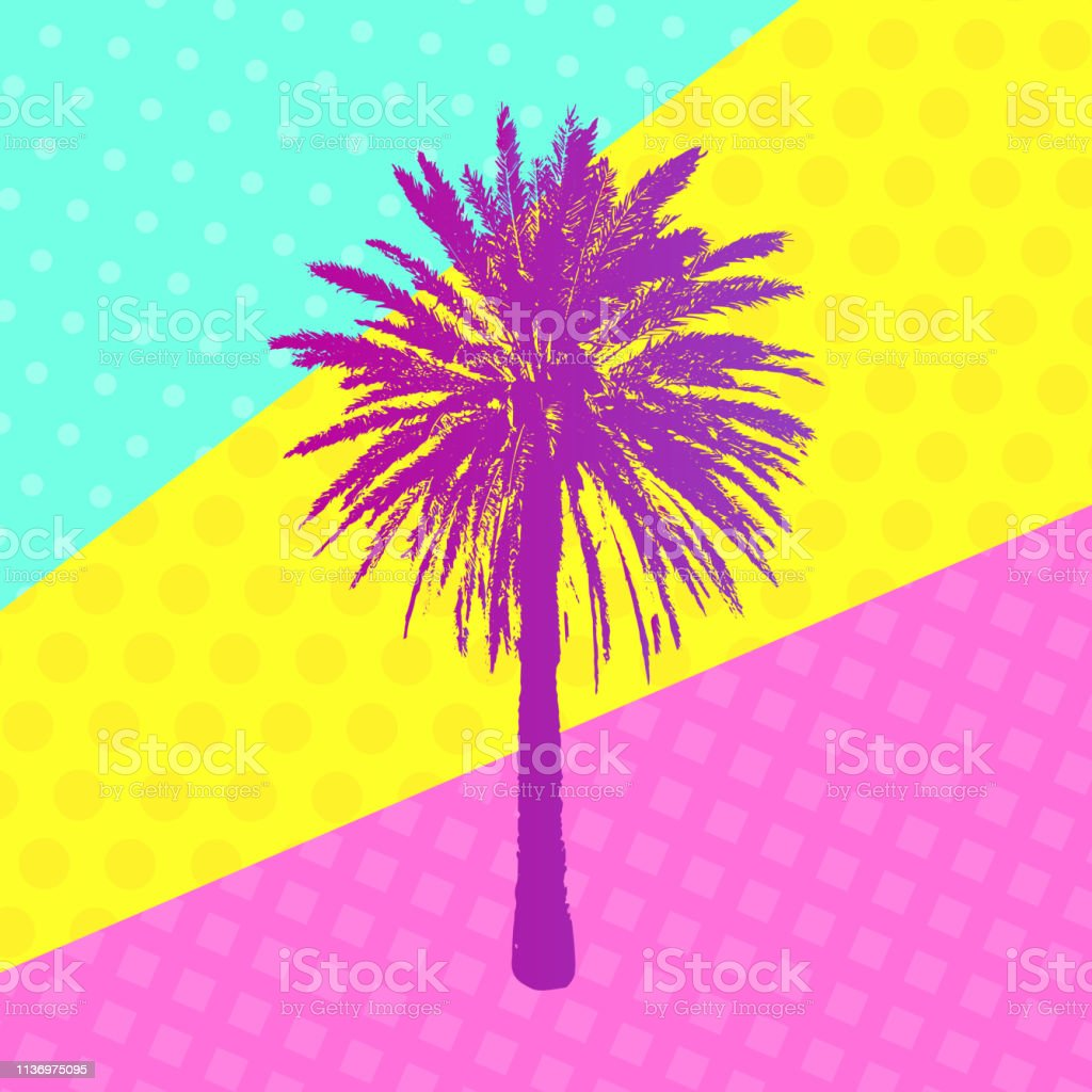4e0b92f6 Hand drawn Palm Tree on trendy frasme. Tropical design element for t-shirt  prints. Exotic color Palm art for shirting textile, fashion, banners, web,  add.