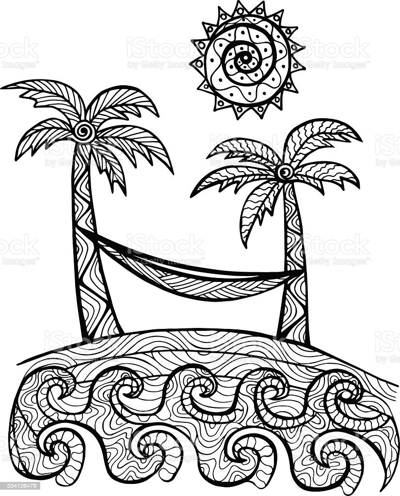 Hand Drawn Palm Trees Illustration For Coloring Book Stock ...