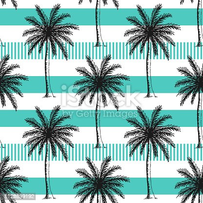 Hand drawn palm trees seamless pattern. Horizontal stripes color line.