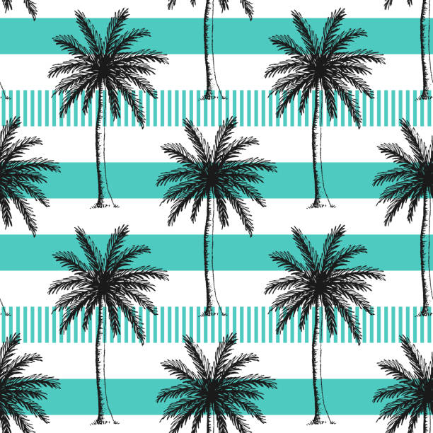 Hand drawn palm trees seamless pattern. Hand drawn palm trees seamless pattern. Horizontal stripes color line. beach designs stock illustrations