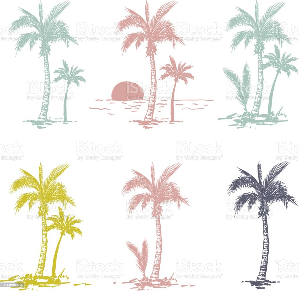 Uncategorized Drawing Palm Trees hand drawn palm trees stock vector art 814689112 istock royalty free art
