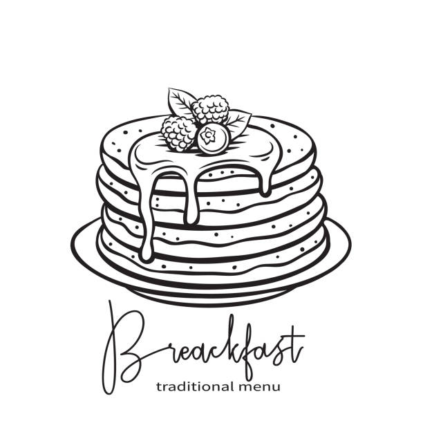 手描きのパンケーキ - パンケーキ点のイラスト素材/クリップアート素材/マンガ素材/アイコン素材