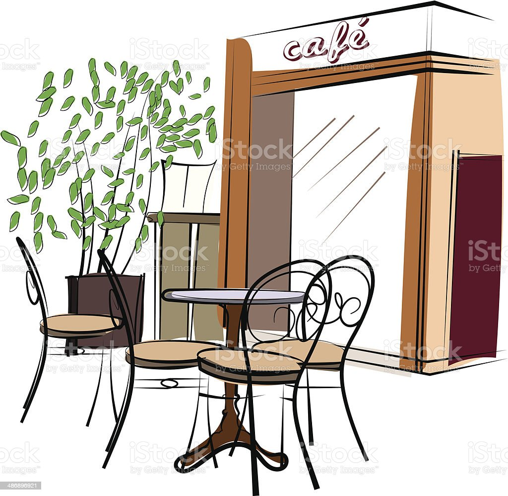 Hand Drawn Paris Cafe vector art illustration