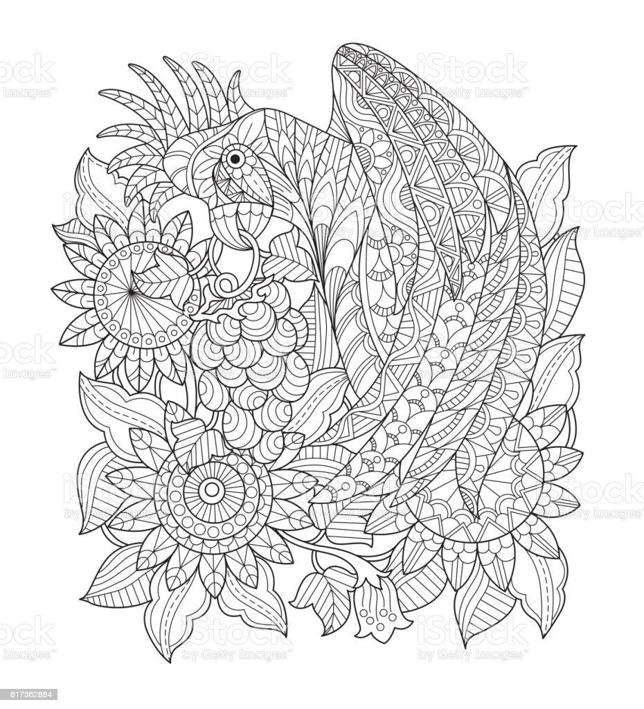 Hand dras papegoja i solros trädgården för vuxen målarbok. vektorkonstillustration