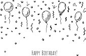Hand drawn party background with balloons and confetti.