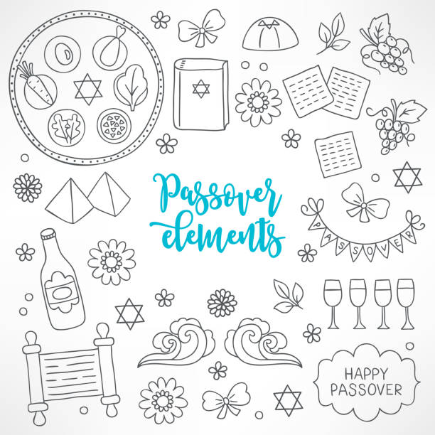 hand drawn passover design elements - passover stock illustrations, clip art, cartoons, & icons