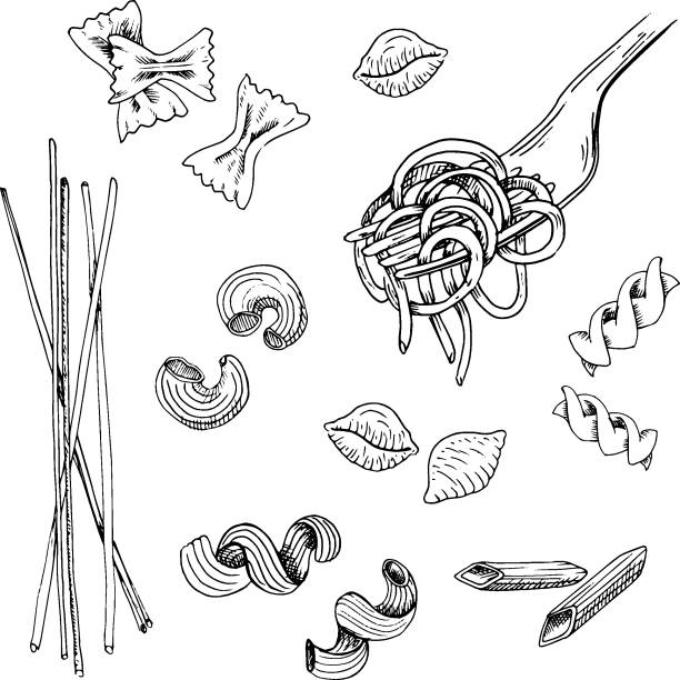 Hand drawn pasta set. Black sketched pasta collection, isolated on white background. Vintage vector illustration. Hand drawn pasta set. Black sketched pasta collection, isolated on white background. Vintage vector illustration. tortellini stock illustrations