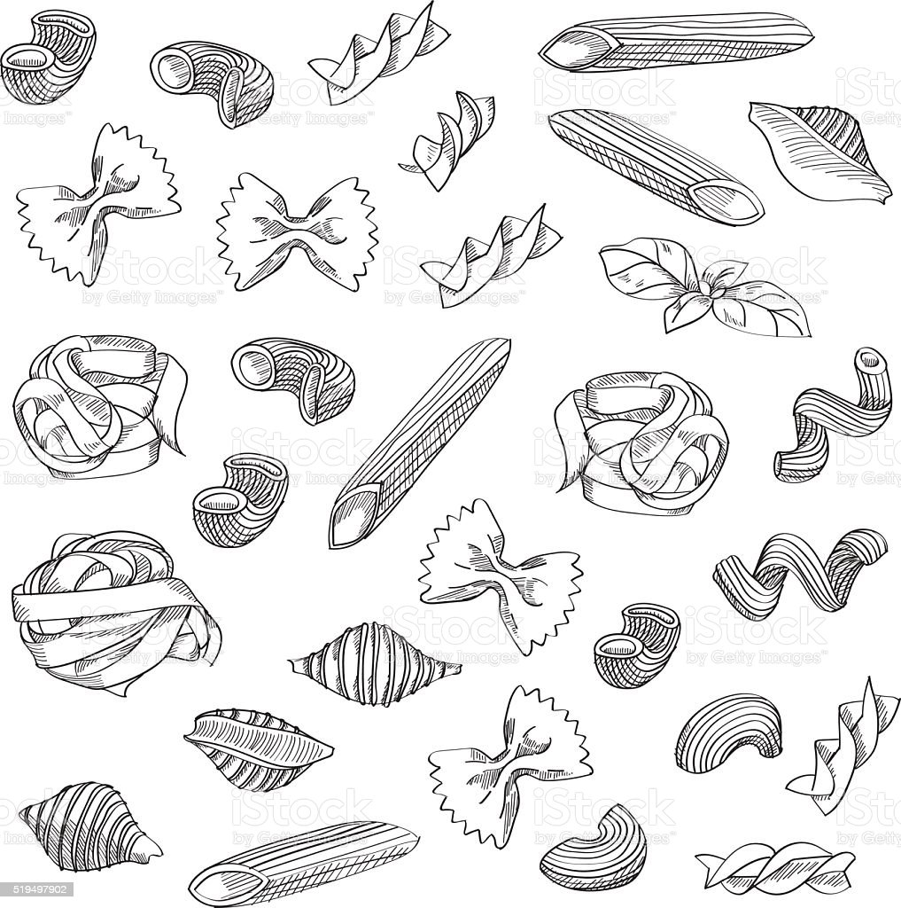Hand drawn pasta sketch background vector art illustration