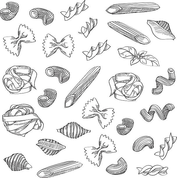 Hand drawn pasta sketch background Hand drawn pasta sketch is great design element for italian restaurants and pasta restaurants. tortellini stock illustrations