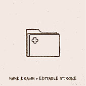 istock Hand Drawn Patient Record Folder Icon with Editable Stroke 1267902123