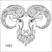 Hand drawn pattern for coloring book zodiac Aries.