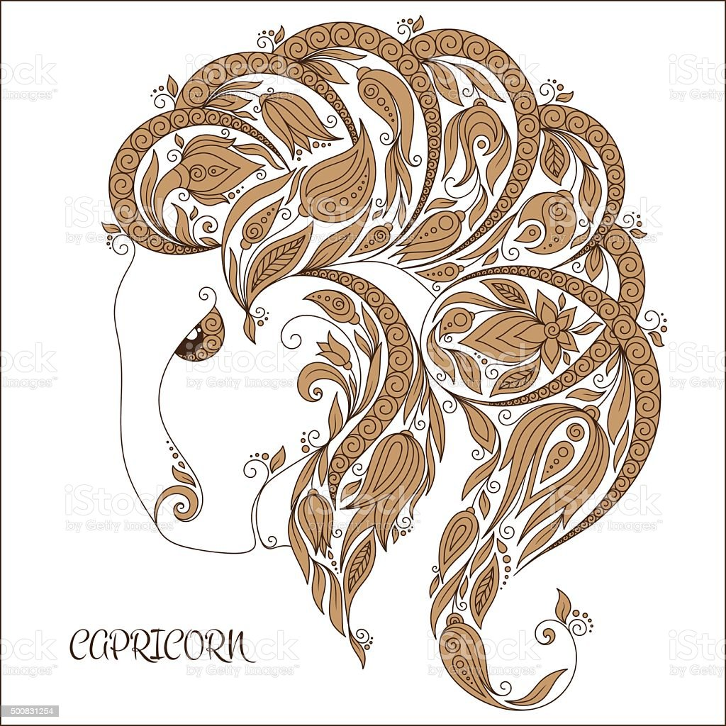 Hand drawn pattern for coloring book zodiac  Capricornus vector art illustration