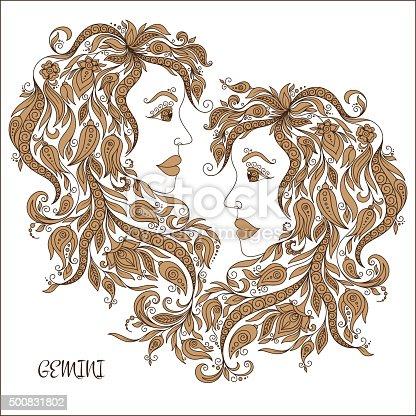 🔥 Imagen de Dibujados a mano patrón para colorear libro zodiac Gemini
