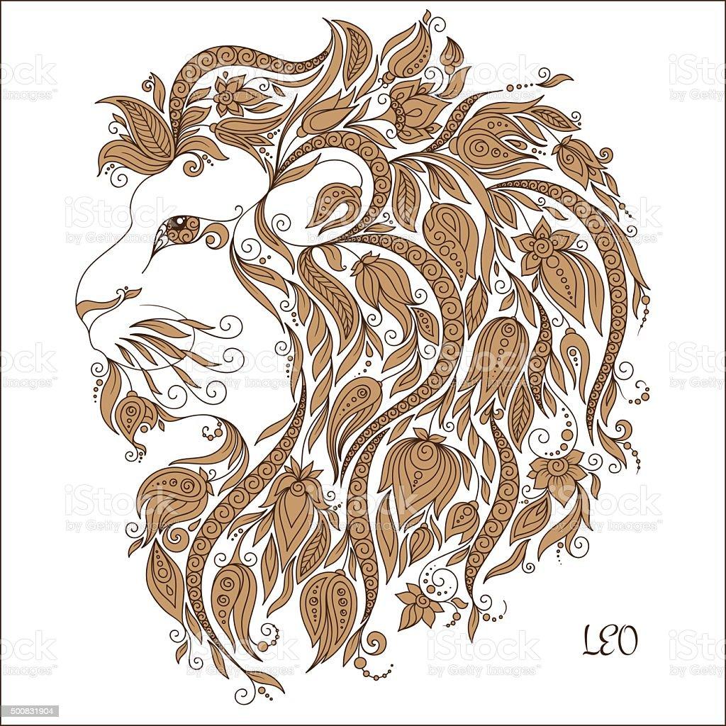 Disegno A Mano Libera Per Libro Da Colorare Zodiaco Leone