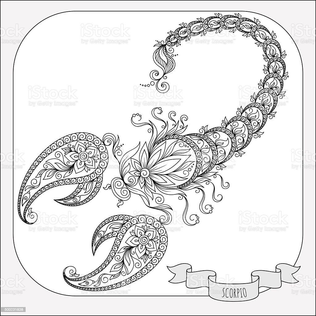 Disegno A Mano Libera Per Libro Da Colorare Segni Dello Scorpione