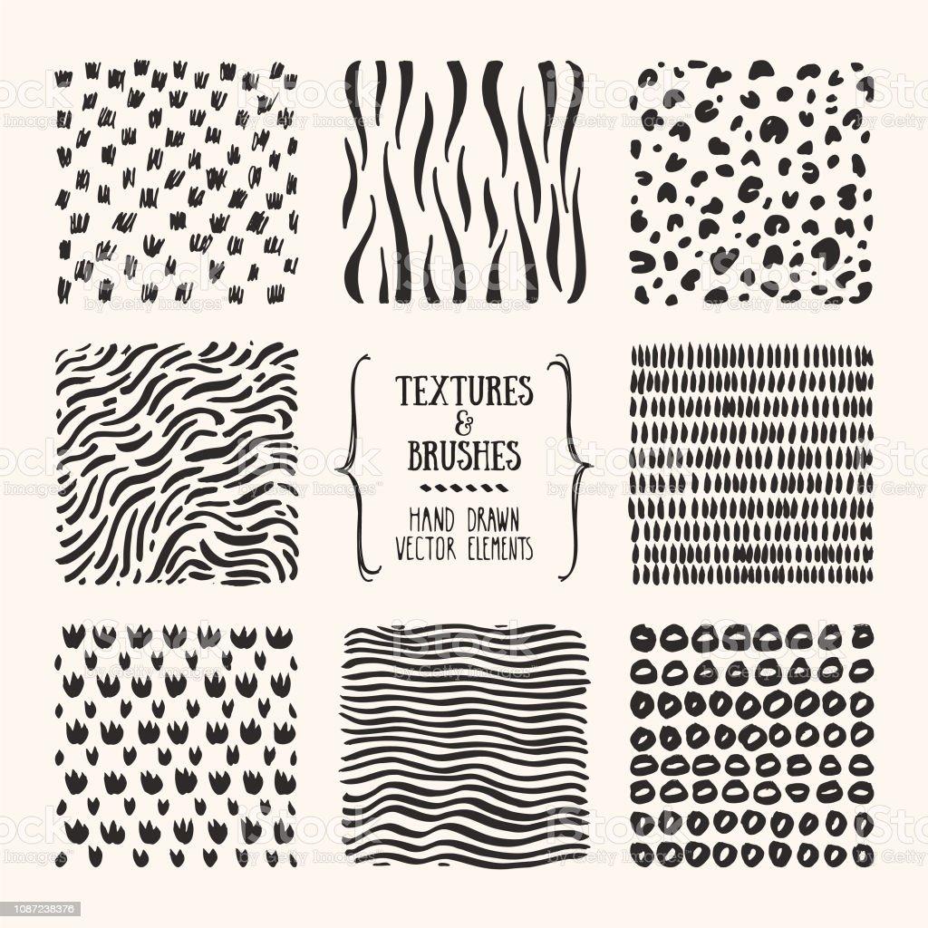 Die Hand Gezeichnete Muster Textil Texturen Abstrakt Poster Flyer