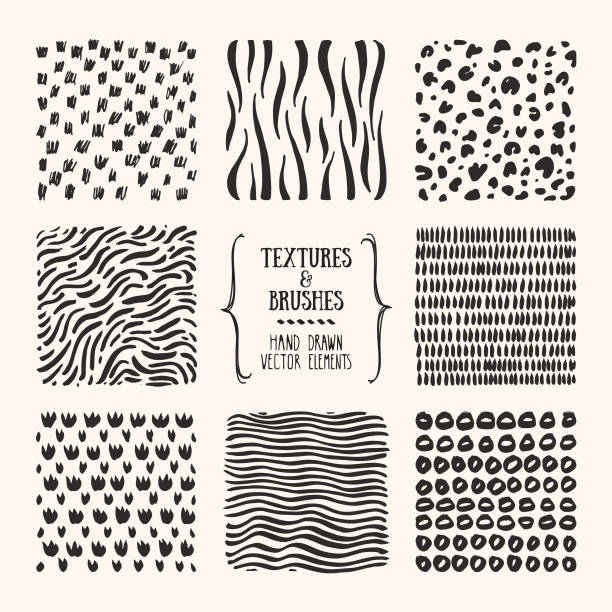 Hand drawn patterns, textile textures, abstract backgrounds. Poster, Flyer, Invitation design templates. Vector clipart collection isolated on white background. Hand drawn textures and brushes. Artistic collection of design elements, animal skin, brush strokes, paint dabs, wavy lines, abstract illustrations, patterns made with ink. Isolated vector set. squiggle stock illustrations