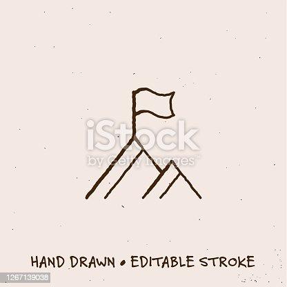 istock Hand Drawn Peak Icon with Editable Stroke 1267139038