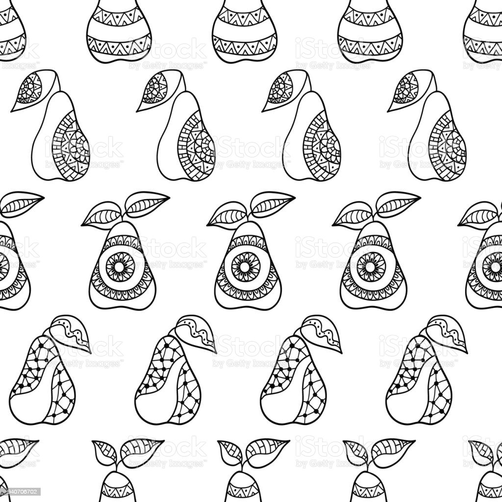 Hand drawn pears and leaves for anti stress colouring page. vector art illustration