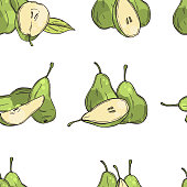 Hand drawn pears on white background. Vector  seamless pattern.