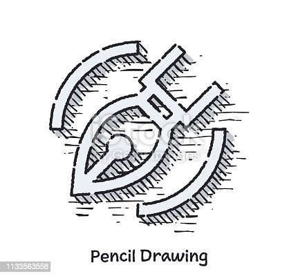 Hand drawn line vector illustration of pencil drawing. Doodle sketch isolated with white background.